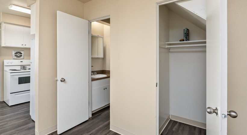 Two Bedroom, One and a Half Bathroom - Storage Closet & Downstairs Bathroom