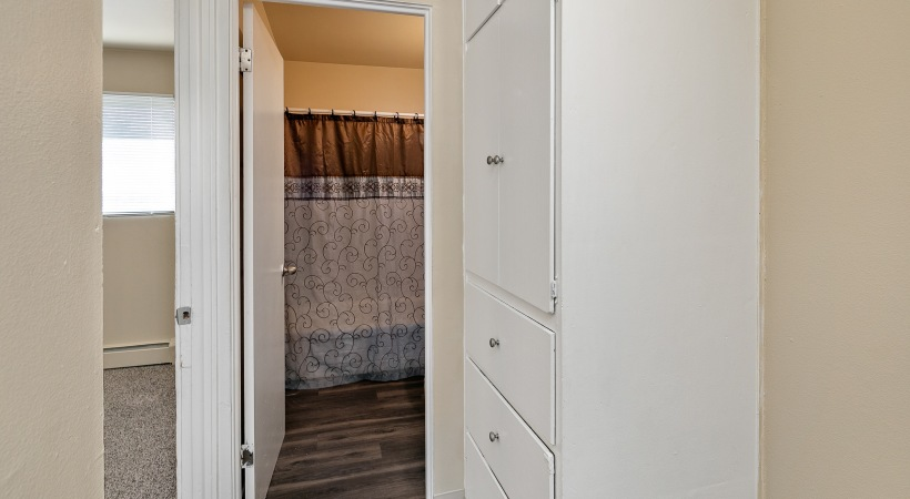 Two Bedroom, One and a Half Bathroom - Upstairs Bathroom & Linen Storage